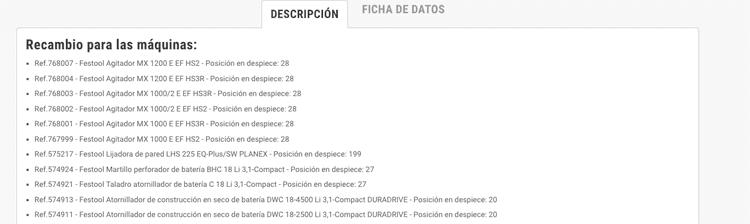 Descripción en la ficha de cada recambio en herramientasmaderaprofesionales.com