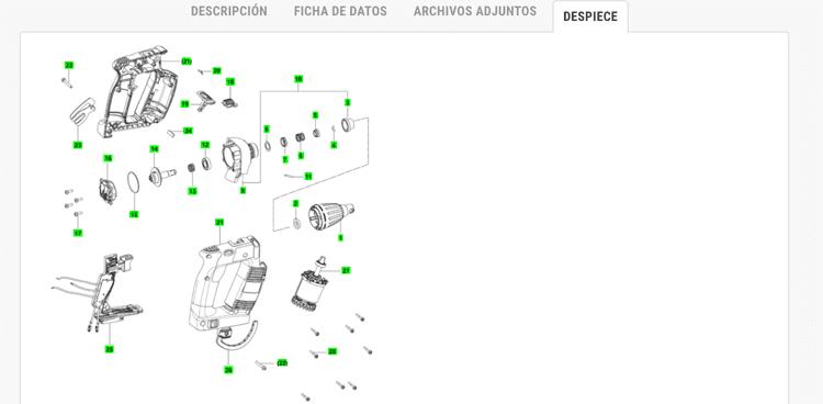 Imagen de despiece en la ficha de productos en herramientasmaderaprofesionales.com