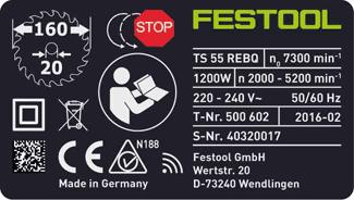 Tarjeta de garantía de Festool